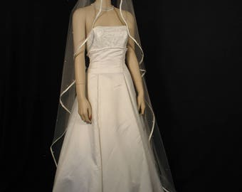 "Pearls Scattered 108"" Angel Cut Cathedral Veil with 3/8"" Folded Satin Ribbon Edge"