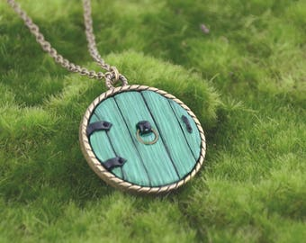Hobbit Door Necklace - Fairy Door Necklace - Hobbit Door - Antique Brass Necklace - Handmade Polymer Clay Necklace by LittleMillieShop