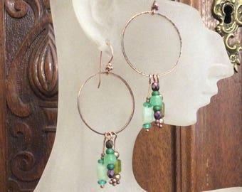 Green Boho Earrings / Boho Earrings / Beaded Earrings / Drop Earrings / Green Earrings / OOAK Earrings / Handmade Earrings