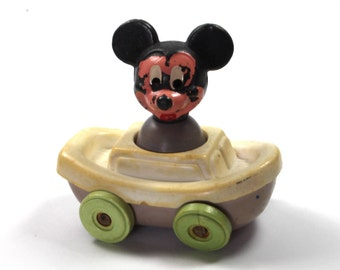 Vintage Mickey Mouse White Car Toy, Mickey Mouse Car Toy, Plastic Mickey Mouse 1970 Collectable Toy, Walt Disney, Walt Disney Productions