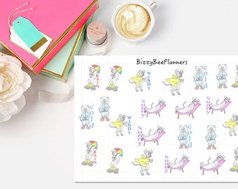Bizzy Mouse  Hand drawn Weather Planner Stickers- ECLP-Happy Planner