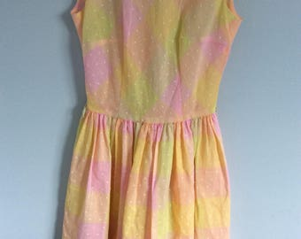 1950s Beautiful Candy Colored Full Skirted Dress Small