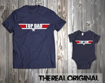 Top Dad Top Son Matching Top Gun Shirts - Father Son Matching Shirts Father Matching Father's Day Shirt Matching Family Outfits RO262-RO263