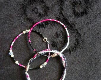 Set of Three Pink, Black and White Beaded Bracelets