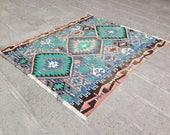 Turkish Rug, Kilim Rug, Oushak Kilim, Vintage Rug, Area Rug, Carpet, Handmade Rug, Anatolian Rug, Decorative Rug/185x167 cm 65x35 inches