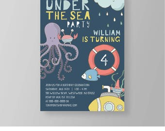 Under the Sea Birthday Party Invitation Template | Printable Pool Party Invite | Boy or Girl | 100% Editable | Instant Download, DIY #024BBD