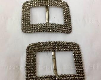 Antique Pair of Diamante Shoe Buckles