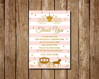 Thank You card Little Princess, pink and gold