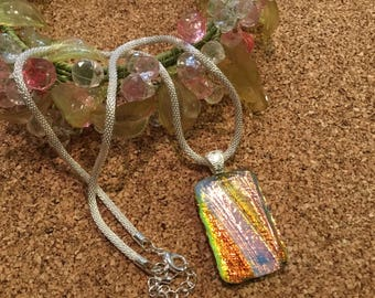 Dichroic Pendant-Dichroic Jewelry-Fused Glass Jewelry- Fused Glass Necklace