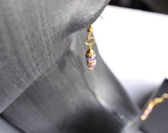 1st anniversary idea, drop earrings of gold gilt and paper bead ,  handmade unique gift for her, beaded earrings