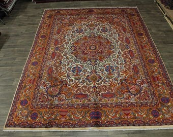 Overwhelming Unique Ivory Orange Kashmar Persian Rug Oriental Area Carpet 10X13