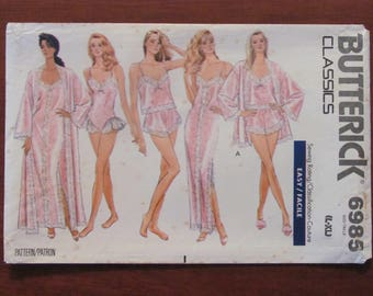 BUTTERICK DRESSMAKING PATTERN - 6985 Ladies Sleepwear, Robe, Nightgown, Camisole, Panties & Teddy, Size L - XLarge, Plus Sizes Uncut