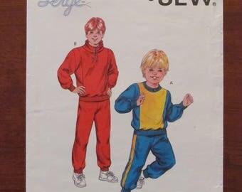 KWIK SEW PATTERN - 1579 Boys' Jogging Suit, Tracksuit, Jumper & Pants, Sportswear, Size 8 - 14, Uncut
