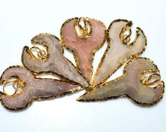 5 Pieces Petite Jasper Arrowhead Pendant - Jasper Arrowhead Electroplated With 24K Gold Plated Pendant, 42 - 50 mm, AH433