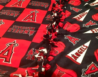 OC ANGELS Fan Flare! Handmade Fleece Throw Blanket designed by JAX. An Orange County A's Baseball theme with 3 style combos to choose from!