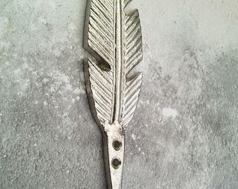 Silver Feather Wall Hook, Coat Hook, Door, Wall Hanger Leaf Leaves Wall Hook