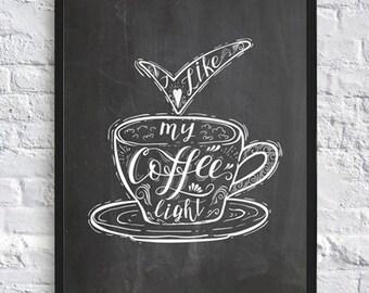 Coffee print coffee art kitchen wall art coffee mug gift idea chalkboard