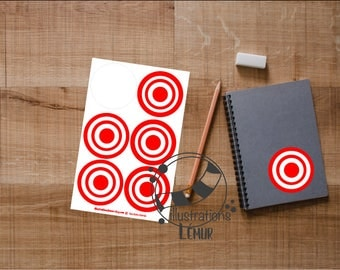 Stickers target circle 2 inches - decal vinyl quality with rolling protecting the color - stuffing and dream
