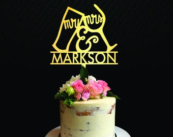 Mr and Mrs cake topper, Wedding cake topper silhouette, cheers cake topper, Custom First Name Initial, Wedding and Anniversary, Birthday