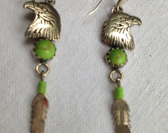 Native American Gaspeite Eagle and Feather Sterling Silver Earrings