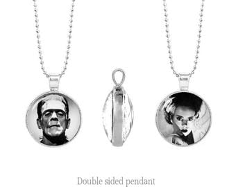 Frankenstein and his Bride Double Sided Pendant Frankenstein Two Sided Pendant Gothic  Fandom Jewelry