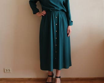 Vintage Dress Women's Dress Green Dress Forest Green Long Dress Long Sleeve Elastic Waist  Large Size