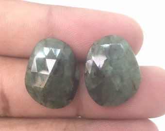 Matched Pair,Rose Cut Emeralds,Raw Emerald,Rose Cut Slices,Natural Untreated Emeralds,Rose Cut Cabochons,19X14.5 MM Emerald Pair