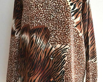 Vintage 80s leopard print blouse shirt Large