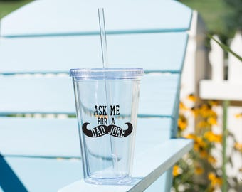 ask me for a dad joke tumbler // fathers day gift // gift for dad // gift for new dad // funny fathers day gift // mustache cup