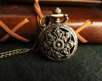 Steampunk necklace, Necklace watch clock, clock