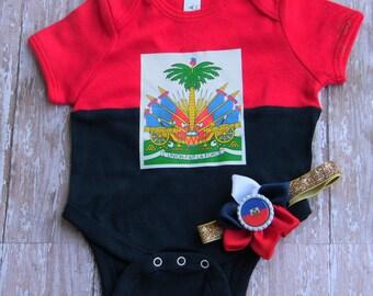 Haiti Baby girl/ Baby Boy onesie Baby girl matching set Haitian  Flag Haitian Pride