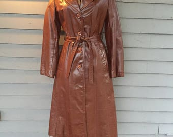 70's Brown Leather Jacket with Wide Collar Lapel | Fully Lined | Three Quarter Length | Size Small | Bohemian Boho Chic | Mod