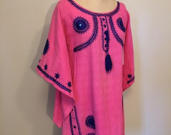 Angel Sleeve Pink and Blue Hippie Blouse from 1960's 1970's   Tunic  Dashiki   Hand Embroidered Top   Made in India   Woven and Sewn by Hand