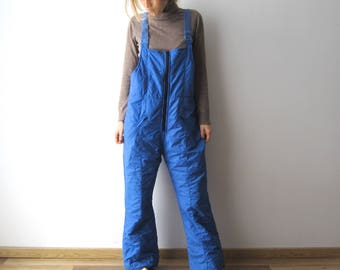 Vintage Mens Skiing Pants 90s Winter Hipster Snow Pants Large Size Blue Skiing Overalls Trousers Mens Winter Activewear Overalls Pants