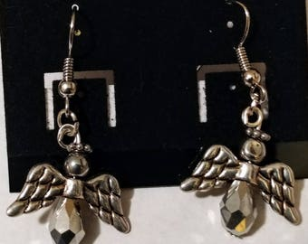 Small silver angel earrings