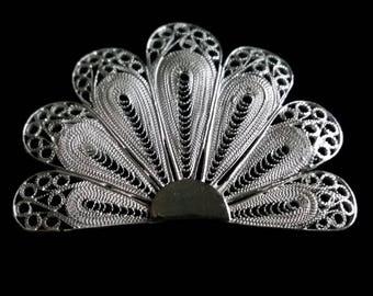 Silver Filigree Brooch Abanico Blanco, Sterling Silver Brooch, Spanish Fan, Flamenco Brooch, Handmade Filigrana Cordobesa, Gift Idea
