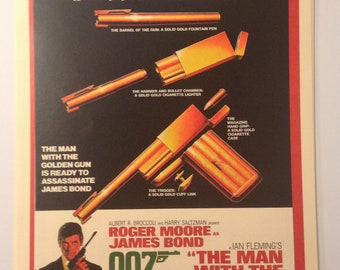James Bond Man with the Golden Gun Vintage Movie Poster Print Reproduction