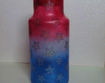 Red, White & Blue Starry Cork Lid Jar