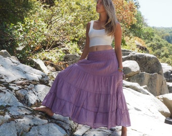 Gauze Cotton Boho Gypsy Tiered Maxi Skirt in LAVENDER // Pockets, Natural Fiber, Flexible Waistband / Breathable Elegance!