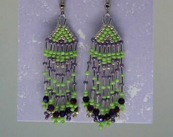 Green, Silver & Lavender Tassel Earrings