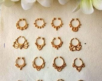 Goldfilled Septum Ring, 16 Designs , Handmade, Fake Septum Ring without piercing Septum Cuff, Septum Clip, Tragus, Helix, Cartilage. F16