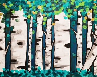 Green Forest Aspen Trees
