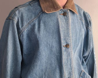 Mens Vintage Jean Coat with Curduroy Collar Size Large