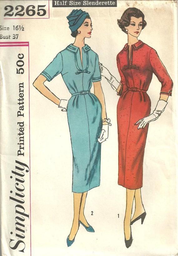 Vintage 50er Jahre Schnittmuster Einfachheit 2265 Etuikleid