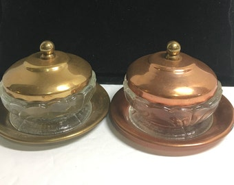 Vintage 1940's Copper, Brass and Glass Sauce Dishes with Lids made in Chile   (TTT18)
