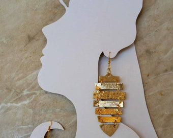 Gold leather earrings - leather jewelry - gold is bold