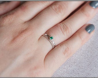 Dainty emerald ring sterling silver, May birthstone ring for her, Everyday rings set, CZ Green Emerald 3mm, UK shop, Emerald ring UK