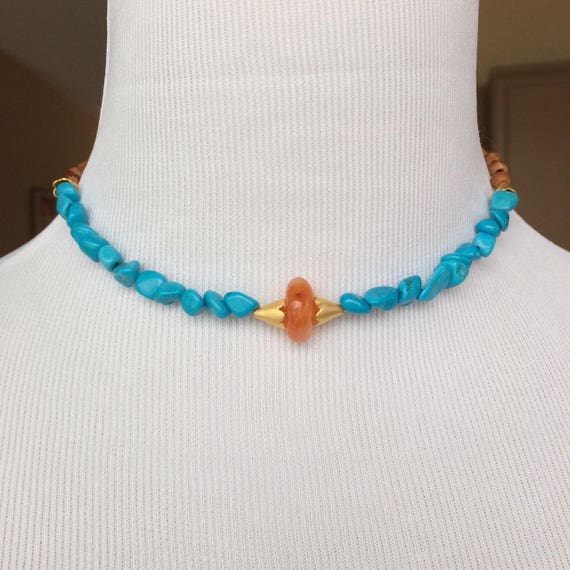 Egyptian Magnesite Carnelian and Seed 22k Gold Plated Brass Choker Necklace
