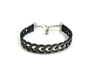Leather Bracelet, Laser Cut Leather Bracelet, Gray Leather, Adjustable Closure, Gift, Genuine Leather, Leather Jewelry, Bracelets