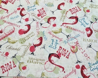 Wine Country Glasses Cotton Fabric from Fabri-Quilt